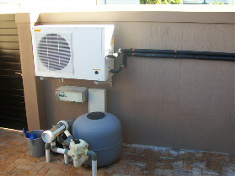 heat pump and pool filter and chlorinator